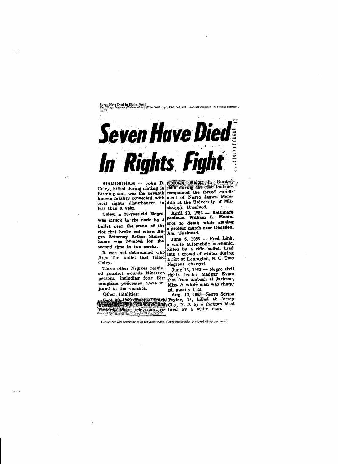 Seven Have Died in Rights Fight